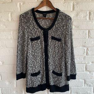 Ann Taylor Black & White Knit Sweater Cardigan